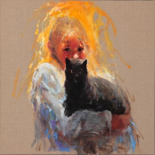 Beau & Mouse, oil / canvas, 2009, 70 x 70 cm, Sold