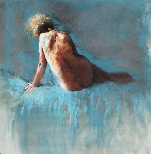 Sitting nude, pastel, 2009, 104 x 100 cm, Sold