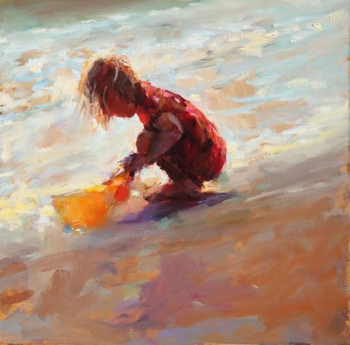 Girl on the beach II, oil on canvas, 2009, 30 x 30 cm, Sold