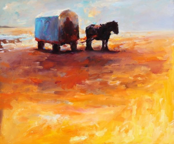 Beach cart, oil / canvas, 2009, 50 x 60 cm, Sold