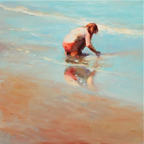 Girl on the beach, 50 x 50, 2009, oil/canvas cm, Sold