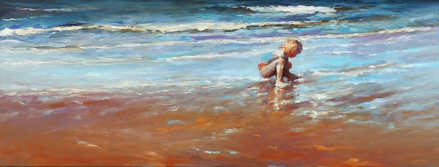 Girl on the beach, oil / canvas, 2010, 50 x 130 cm, Sold