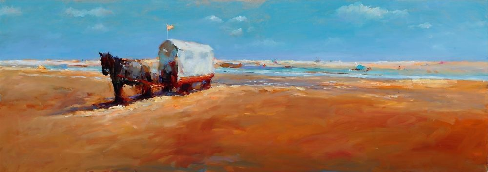 Beach cart, oil / canvas, 2010, 50 x 140 cm, Sold