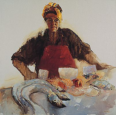 Portuguese fish-seller, Oil / canvas, 1997, 100 x 100 cm, Sold