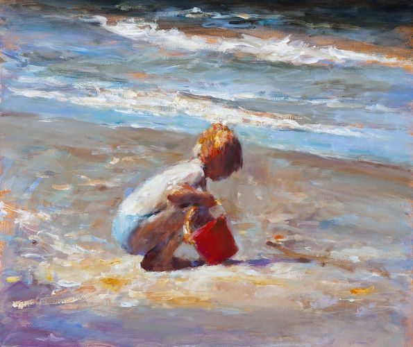Red bucket III, oil / canvas, 2011, 43 x 50 cm, Sold
