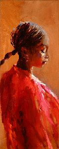 Indian model, Oil / canvas, 2004, 60 x 24 cm, Sold