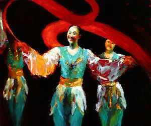 Chinese dancers, Oil / canvas, 2004, 110 x 130 cm, Sold