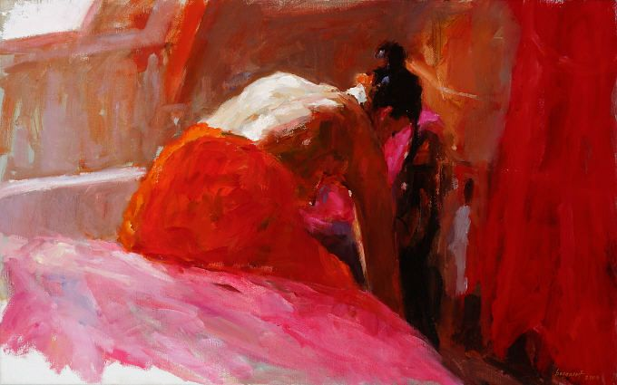 Model in red III, Oil / canvas, 2004, 50 x 70 cm, Sold