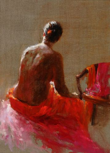 Model in red II, Oil / canvas, 2004, 70 x 50 cm, Sold