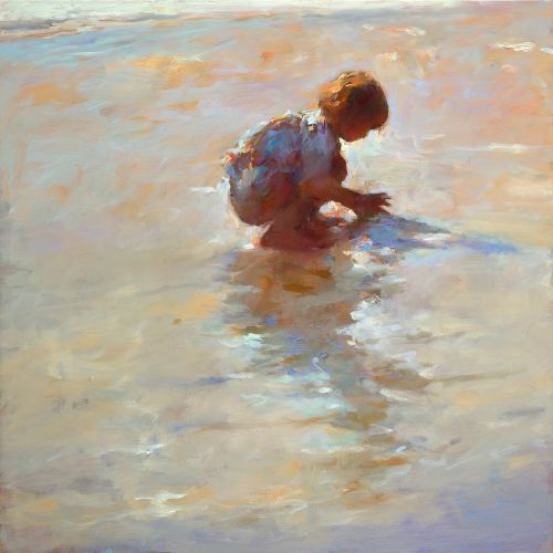 Girl on the beach, oil on canvas, 2009, 70 x 70 cm, Sold