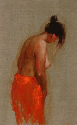 Model in red V, Oil / canvas, 2004, 80 x 50 cm, Sold