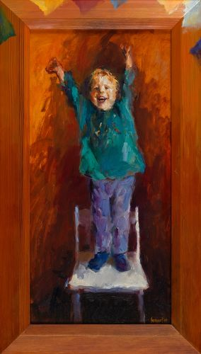 Whoopeeeee!, oil/wood, 1999, 60 x 30 cm, Sold