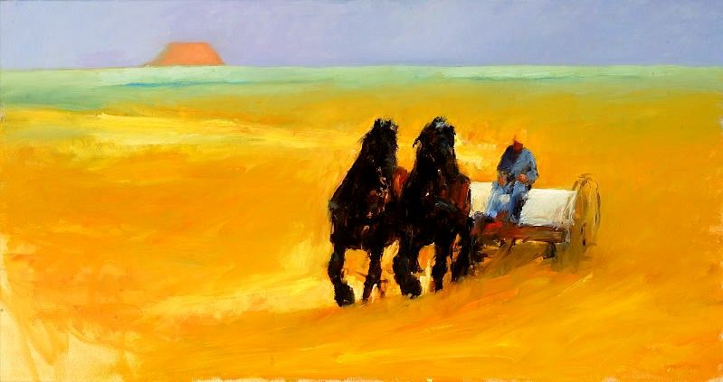 Haymaking month III, Oil / canvas, 2005, 85 x 160 cm, Sold