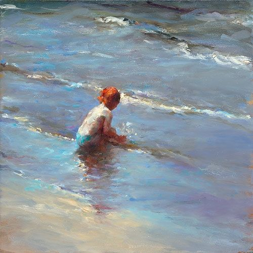 Girl on the beach V, oil / canvas, 2010, 50 x 50 cm, Sold