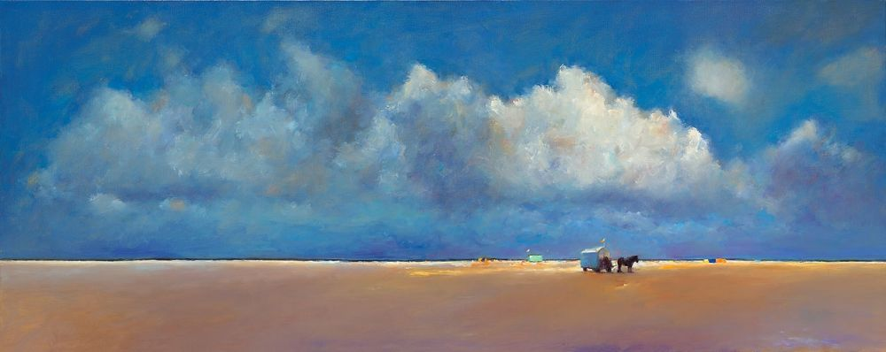 Beach near beachmark 7, oil / canvas, 2010, 100 x 250 cm, Sold