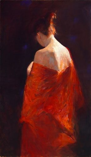 Model in red kimono, oil / canvas, 2010, 120 x 70 cm, Sold