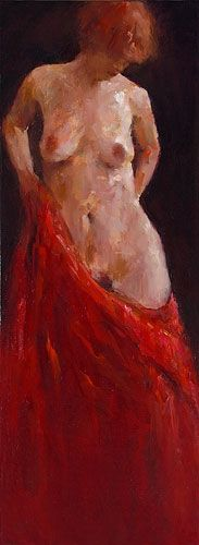 Model in red, oil / canvas, 2010, 80 x 30 cm, Sold