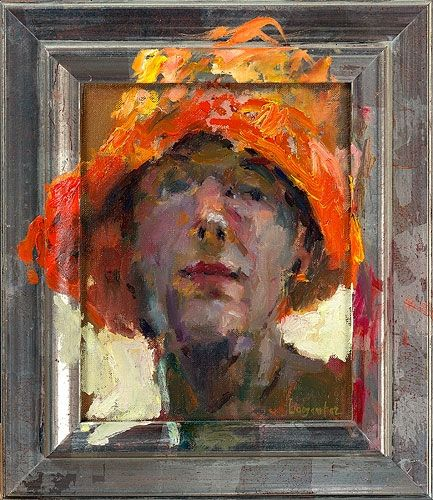 Self-portrait, Oil / canvas, 2002, 21 x 18 cm, Sold