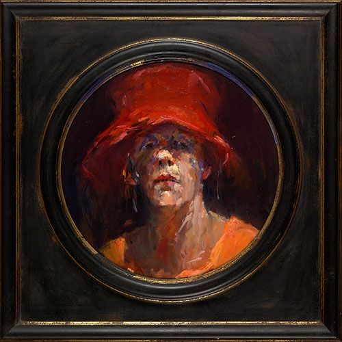 Self-portrait with red hat, oil / canvas, 2011, O 50 cm, Sold