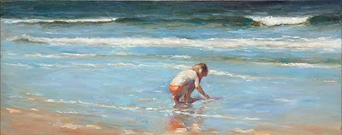 Girl on the beach VII, oil / canvas, 2011, 40 x 100 cm, Sold