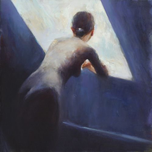 Model in blue, oil / canvas, 2011, 40 x 40 cm, Sold