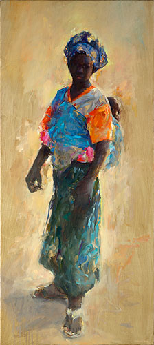 Senegal ( Mother & child), oil / canvas, 2014, 180 x 80 cm, € 7.500,-