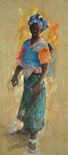 Senegal ( Mother & child), oil / canvas, 2011, 180 x 80 cm, € 8.500,-