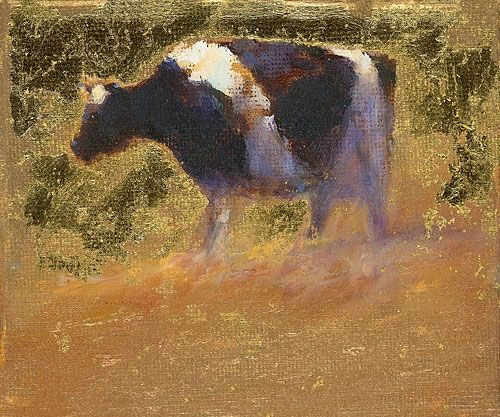 Cow at sunset, oil / canvas, 2011, 10 x 12 cm, Sold