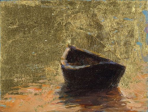 Boat by sunset, oil / canvas, 2011, 12 x 16 cm, Sold