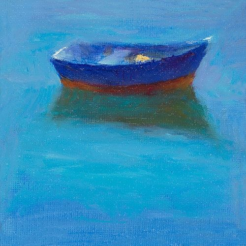 Blue boat, oil / canvas, 2011, 10 x 10 cm, € 900,-