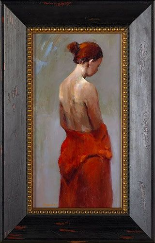 Model in red, oil / canvas, 2011, 40 x 22 cm, Sold