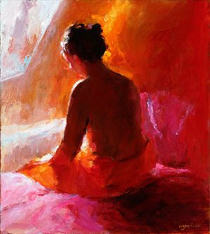 Model in red XI, Oil / canvas, 2005, 40 x 40 cm, Sold