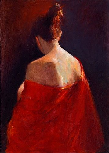 Model in red kimono II, oil / canvas, 2012, 70 x 50 cm, Sold