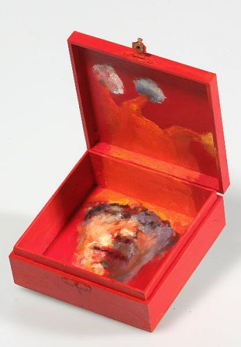 Self-portrait in box, Oil / wooden box, 2005, 20 x 20 cm, Sold