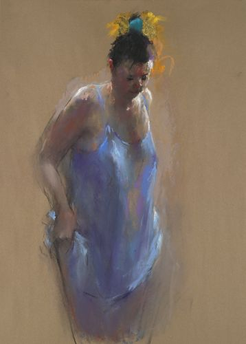 Model in blue, pastel, 2012, 90 x 65 cm, € 3.900,-
