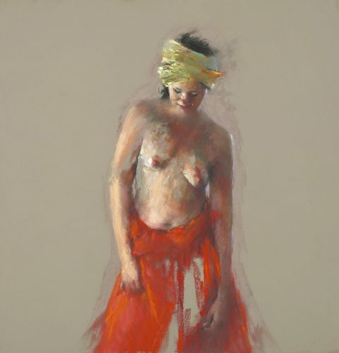 Model with turban, pastel, 2012, 95 x 90 cm, € 3.500,-