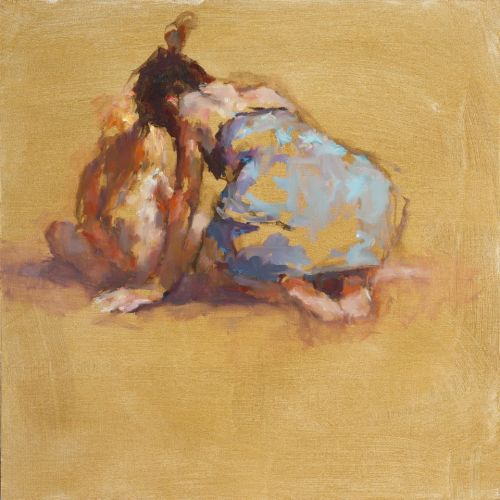 Mutter & kind am strand, Ol auf Leinwand, 2012, 50 x 50 cm, € 3.900,-
