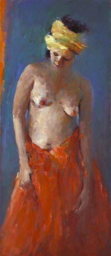 Model with turban, oil / canvas, 2012, 80 x 35 cm, Sold