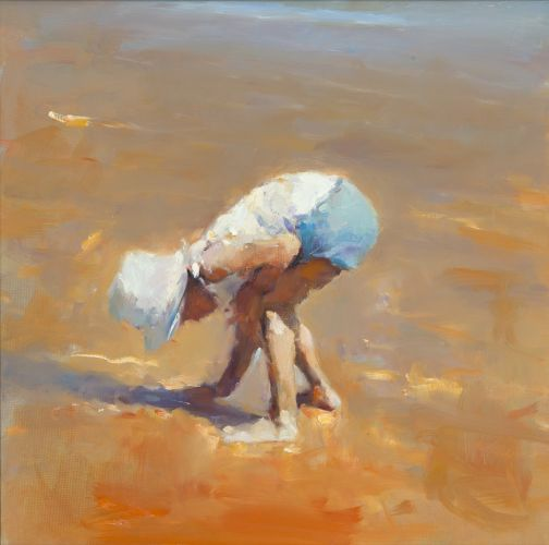 Shell collector, oil / canvas, 2012, 50 x 50 cm, Sold