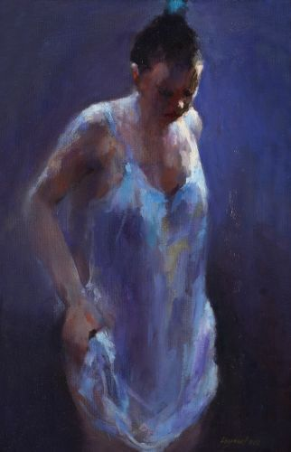 Model in blue, oil / canvas, 2013, 40 x 25 cm, Sold