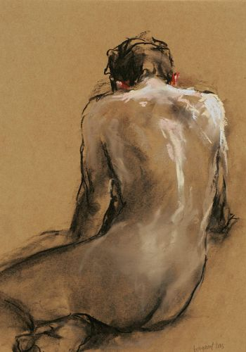 Nude seen from behind, Pastel, 2005, 45 x 34 cm, € 1.400,-