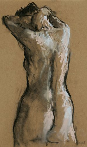 Nude seen from behind, Pastel, 2005, 51 x 34 cm, Sold
