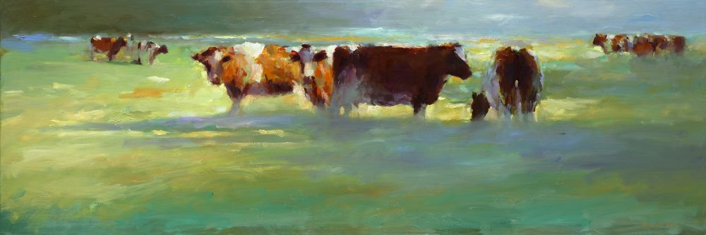 Red cows, oil / canvas, 2013, 40 x 120 cm, € 4.250,-