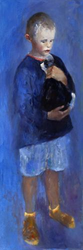 Boy with cat, oil / canvas, 2013, 120 x 40 cm, € 4.900,-