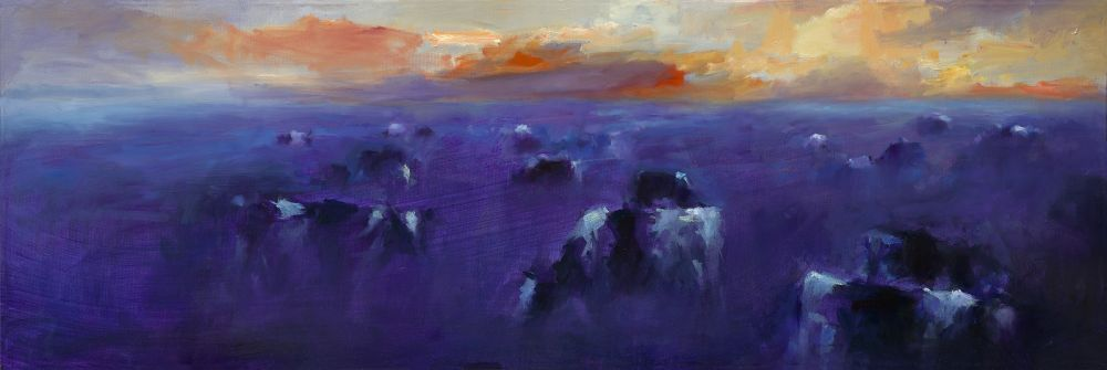 Cows in eveninglight, oil / canvas, 2013, 40 x 120 cm, Sold