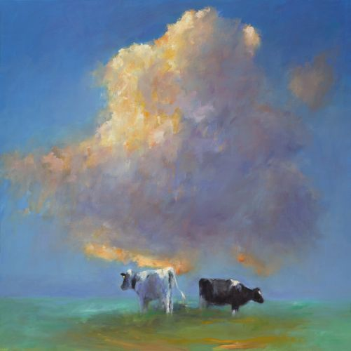 Cloud & Cows, oil / canvas, 2013, 140 x 140 cm, Sold