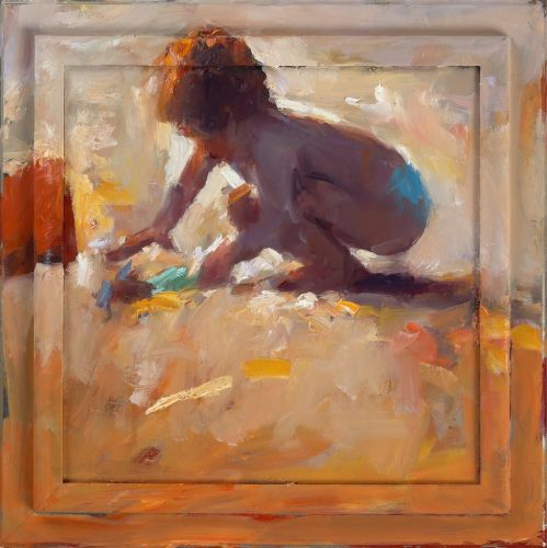 Playing Child, oil / canvas, 2014, 40 x 40 cm, Sold