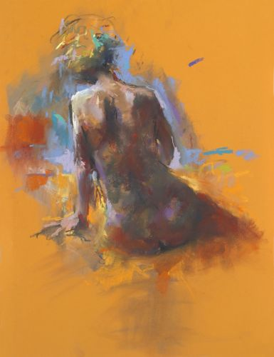 Nude seen from behind, pastel, 2014, 65 x 50 cm, Sold