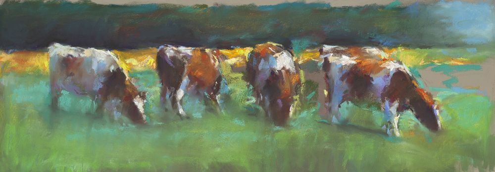 Red cows, Pastel, 2014, 34 x 94 cm, Sold