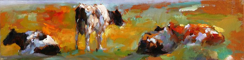 Cows, Oil / canvas, 2006, 10 x 40 cm, Sold
